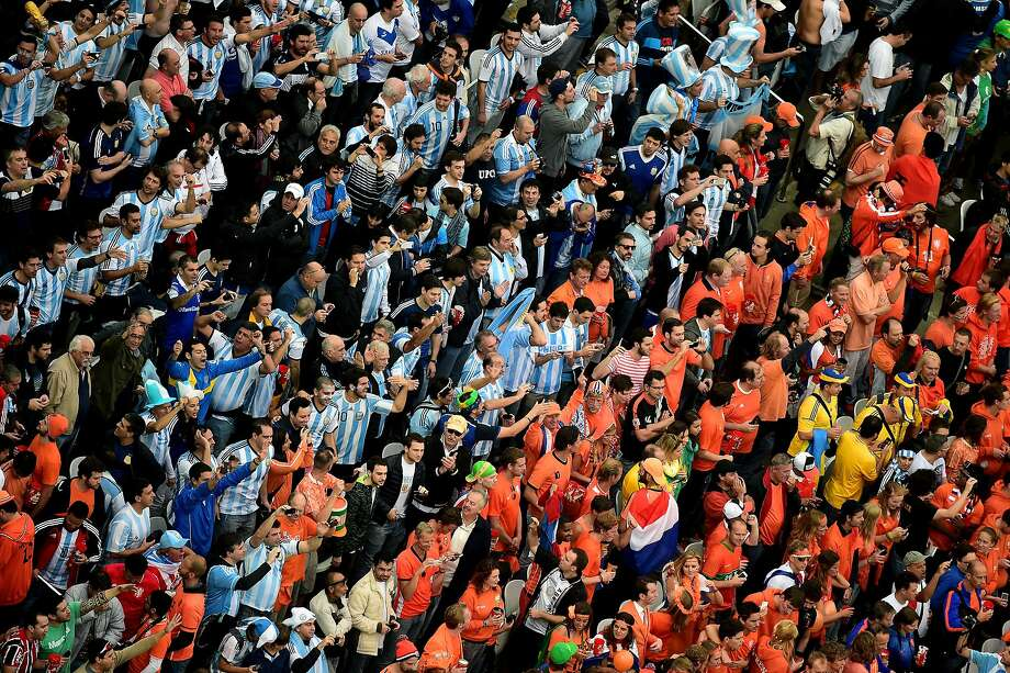 A general view of the crowd during the 2014 FIFA World Cup Brazil Semi Final match between the Netherlands and Argentina at Arena de Sao Paulo on July 9, 2014 in Sao Paulo, Brazil.  Photo: Pool, Getty Images