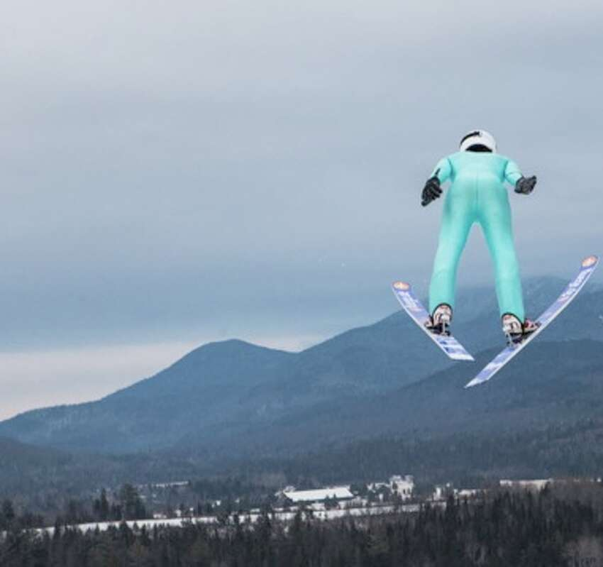 A view of a ski jumper at the Olympic training facilities in Lake Placid.