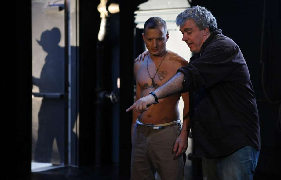 Tony Kelly (right) directs Sean San Jose on a production for his Thick Description theater company in 2009. The now-defunct nonprofit used a loan to construct a theater on Potrero Hill. Photo: Carlos Avila Gonzalez, The Chronicle