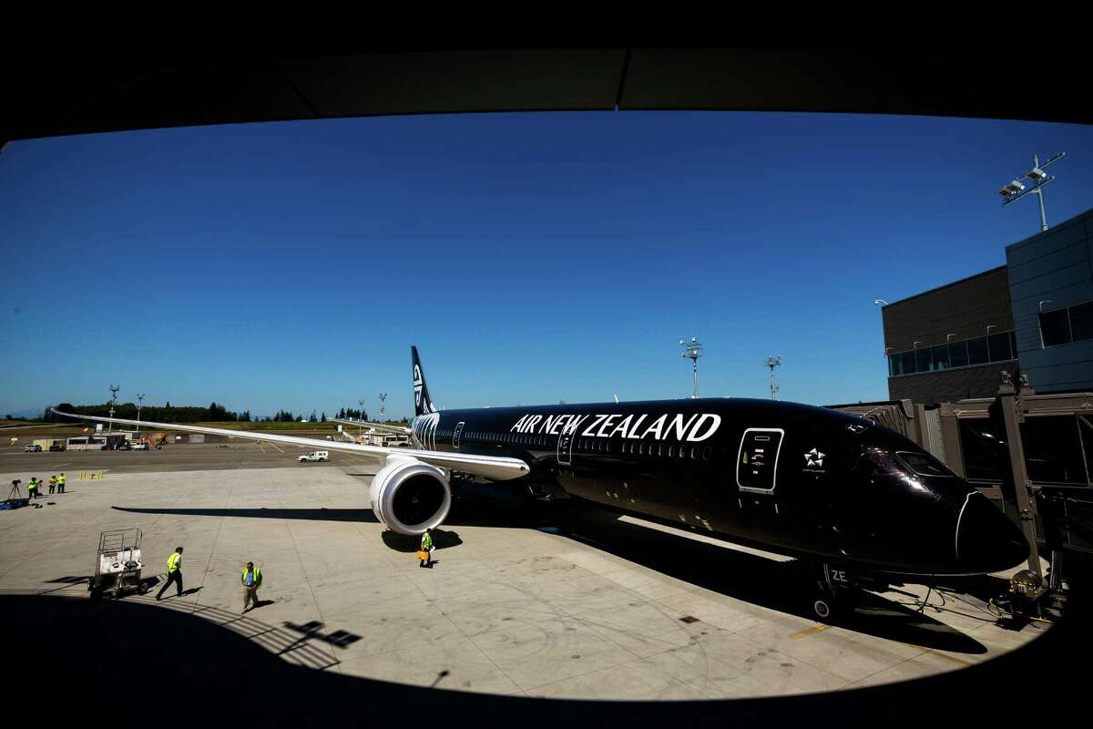 Air New Zealand shows off its new and much anticipated Boeing 787-9 Dreamliner Wednesday, July 9, 2014, at the Boeing site in Everett, Wash. The aircraft will depart Seattle July 10 and arrive in Auckland on Friday, July 11.