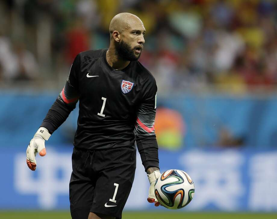 Tim Howard, looking to the future, will try his hand at soccer analysis in the booth for some English Premier League games. Photo: Natacha Pisarenko, Associated Press