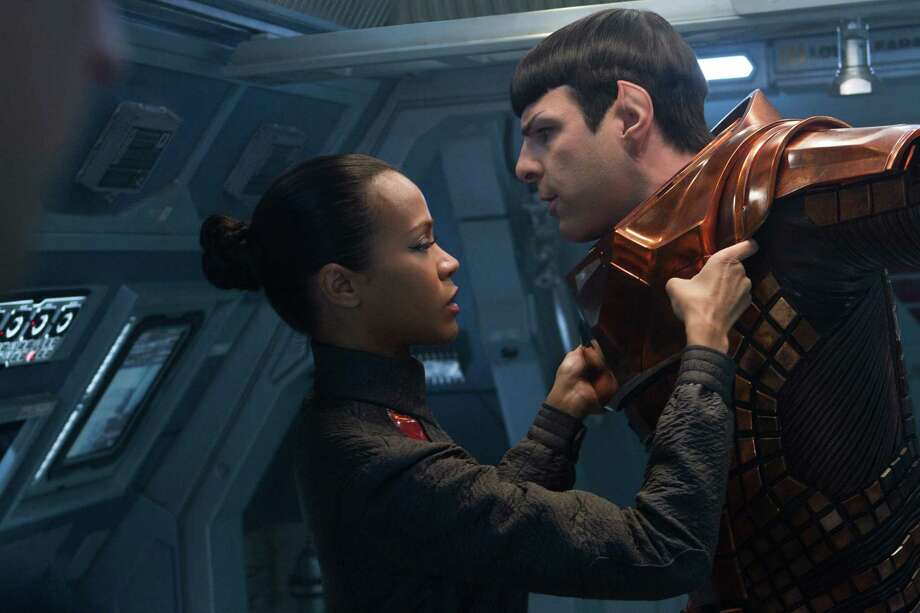 Star Trek Into Darkness Uhura (Zoe Saldana), Spock (Zachary Quinto) Photo: Photo Credit: Zade Rosenthal / © 2013 Paramount Pictures.  All Rights Reserved.