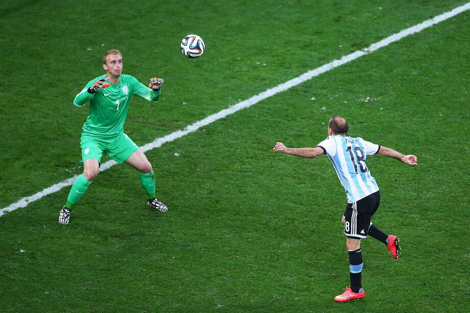 Rodrigo Palacio of Argentina heads the ball on goal against Jasper Cillessen of the Netherlands in extra time during the 2014 FIFA World Cup Brazil Semi Final match between the Netherlands and Argentina at Arena de Sao Paulo on July 9, 2014 in Sao Paulo, Brazil. Photo: Julian Finney, Getty Images
