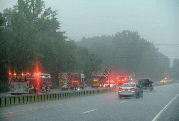 Northway 87 south bound blocked off between exit 1 and Western Avenue during a sudden down pour of rain on Wednesday July 9, 2014 in Guilderland, N.Y. (Michael P. Farrell/Times Union) Photo: Michael P. Farrell