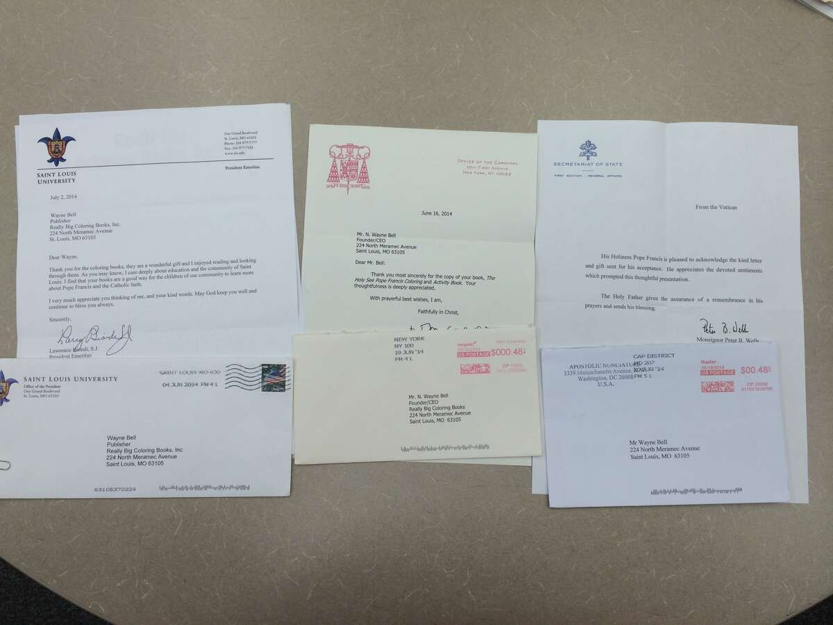 A letter from the Vatican (right) to Wayne Bell, publisher of Really Big Coloring Books'