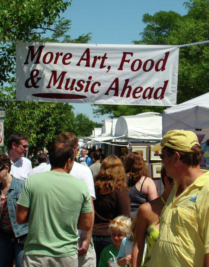 At last year's Fine Arts Festival, works of art --- or works in progress -- were easy to find downtown, but this sign pointed the way to some of them. Photo: Westport News/Contributed Photo / Westport News