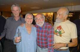 At the KSAN reunion (left to right): Richard Gossett, Dusty Street, Edward Bear and Norman Davis.