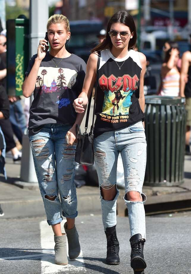 Hailey Baldwin and Kendall Jenner are seen in Soho on July 3, 2014 in New York City. Photo: Alo Ceballos, GC Images