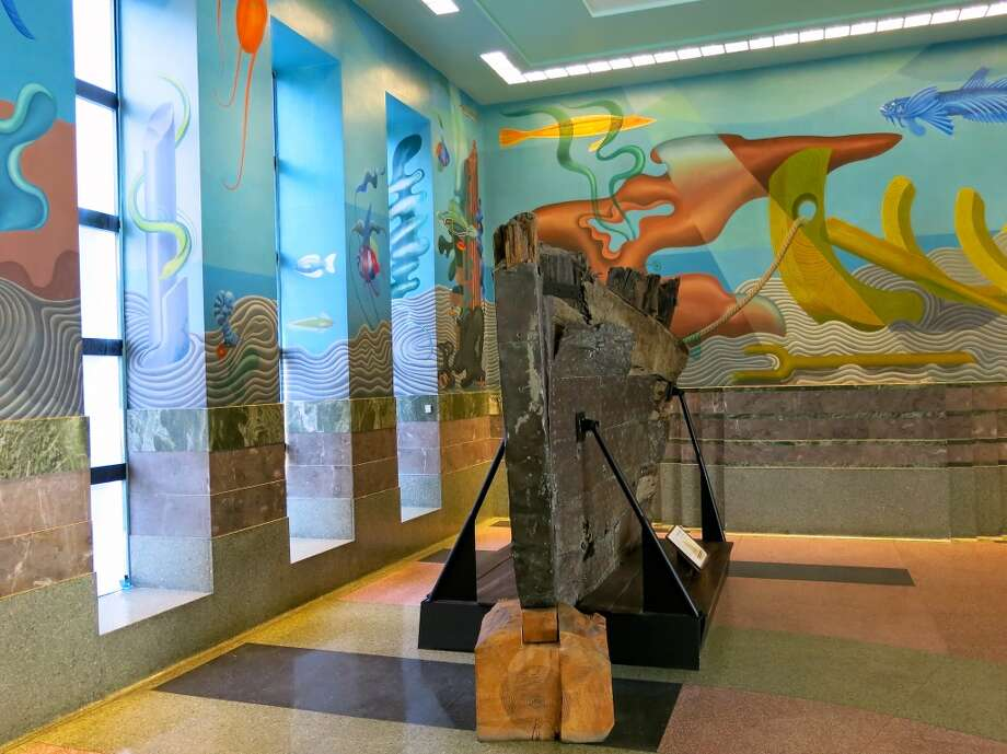 Ruins of the Old Niantic whaling vessel in the lobby of the Maritime Museum. Photo: Catherine Bigelow