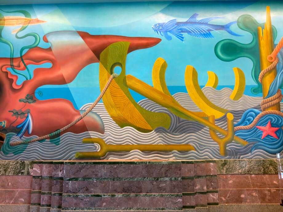 The fantastical WPA murals by artist Hilaire Hiler fill the lobby of the Maritime Museum. Photo: Catherine Bigelow