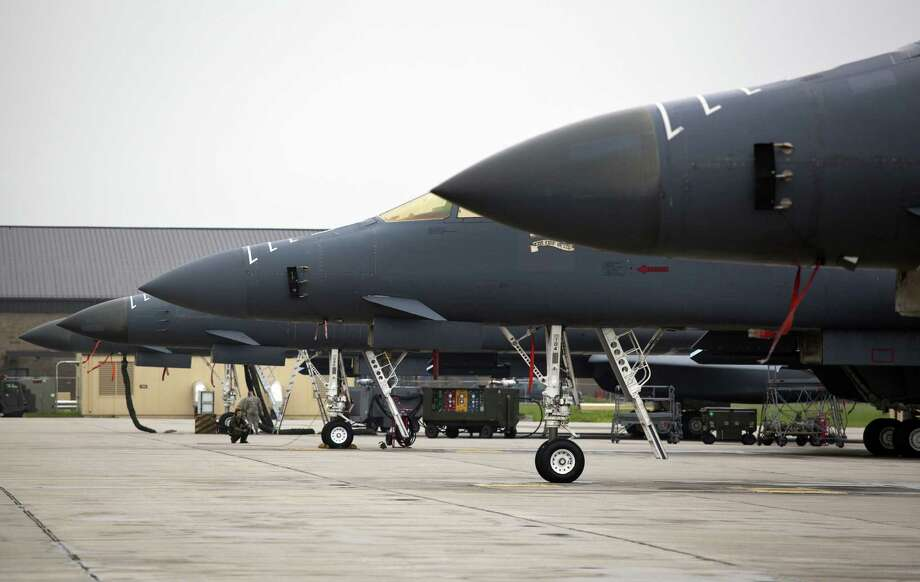 B-1 bombers sit at Ellsworth AFB in South Dakota. The Air Force argues that its bomber fleet could save the U.S. from deploying aircraft carriers or thousands of troops to distant targets. Photo: ERIC GINNARD, New York Times / NYTNS