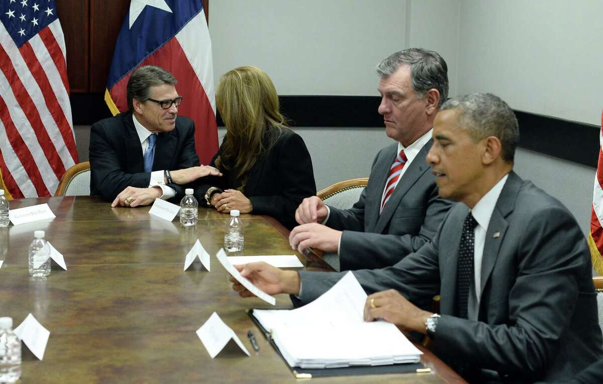 Gov. Rick Perry and President Barack Obama meet with elected officials and faith leaders in Dallas to discuss the border crisis.
