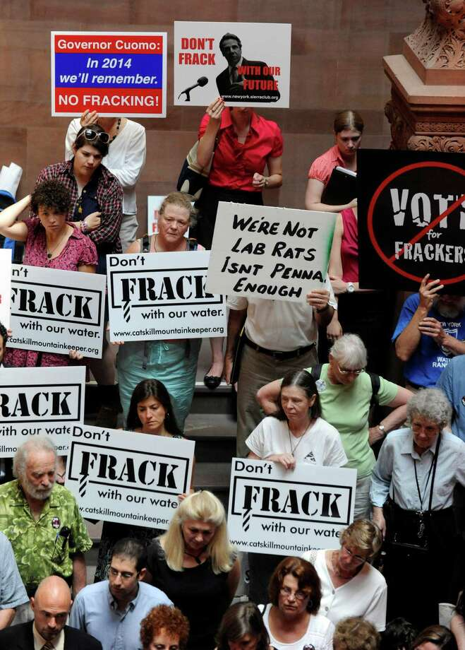 As an oil and gas boom drives drillers into areas outside the historical oil patch, an industry group has issued guidelines for improving community relations amid protests like these in Albany, N.Y. (AP Photo/Tim Roske, File) Photo: Tim Roske, FRE / FR61503 AP