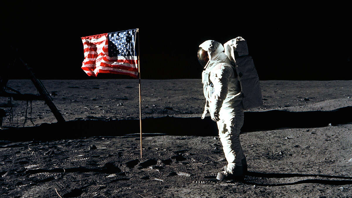 Astronaut Edwin E. Aldrin, Jr., on Tranquility Base, July 20, 1969. Astronaut Neil Armstrong took the photograph.