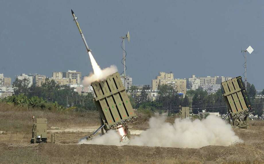 A missile is launched by a battery of the Iron Dome, a short-range missile defense system designed to intercept and destroy incoming rockets and artillery shells, in Ashdod, Israel. Photo: David Buimovitch / Getty Images / AFP