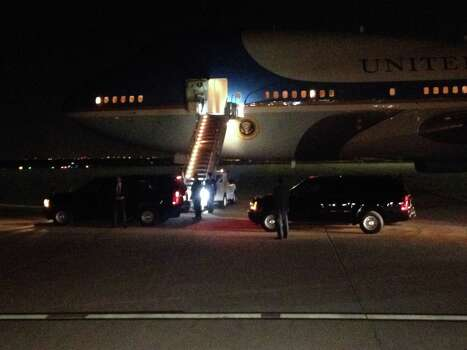 Air Force One arrives at Austin-Bergstrom International Airport the evening of Wednesday, July 9. Photo: Sam Howard/Express-News