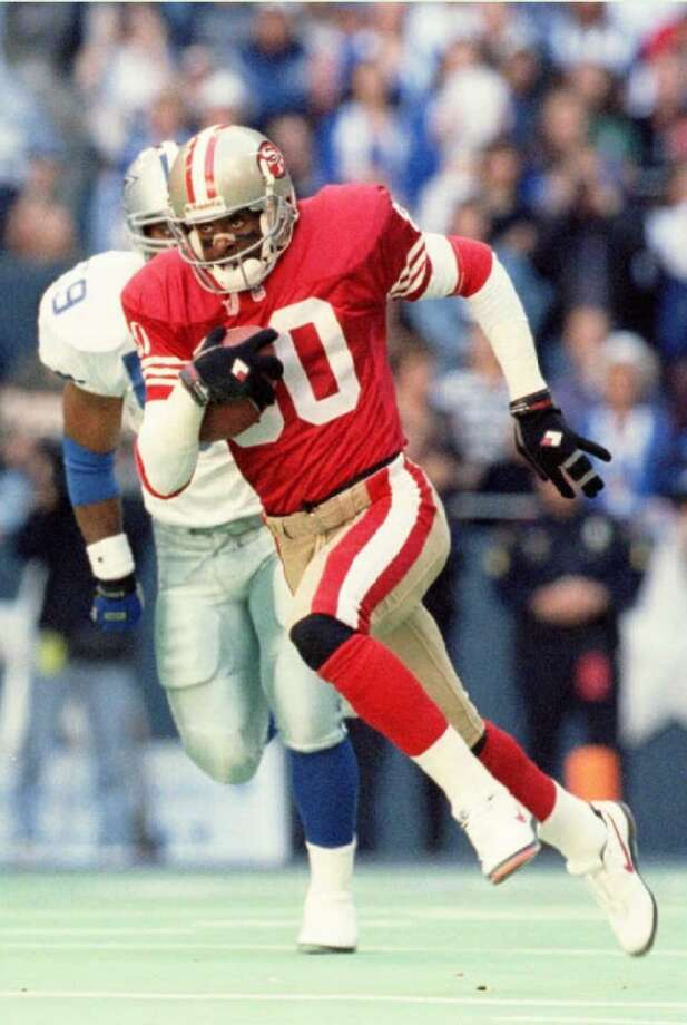 Jerry Rice, 49ers Season: 1995 Age: 33 Catches: 122 Yards: 1,848 Touchdowns: 15 Photo: Bob Daemmrich, Getty Images