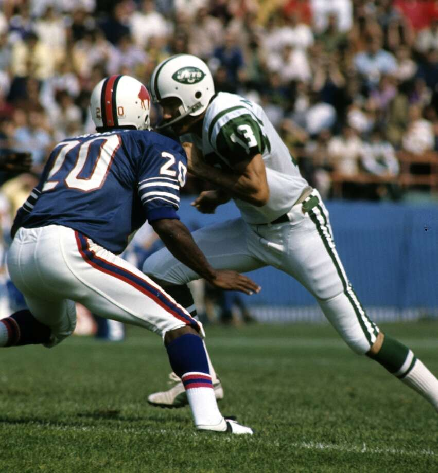 Don Maynard, Jets                         Season: 1968       Age: 33           Catches: 57           Yards: 1,297       Touchdowns: 10 Photo: Tony Tomsic, Getty Images