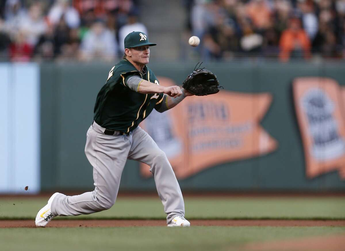 Oakland Athletics third baseman Josh Donaldson throws to first base for an out during the first inning of his baseball game against the San Francisco Giants on Wednesday, July 9, 2014 in San Francisco, Calif.