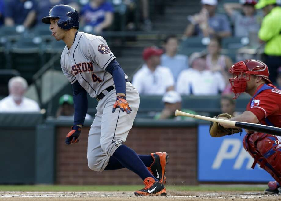 July 9: Astros 8, Rangers 4George Springer was back at it in the batter's box and field, leading the Astros to a sweep of the Rangers.  Record: 39-54. Photo: Tony Gutierrez, Associated Press