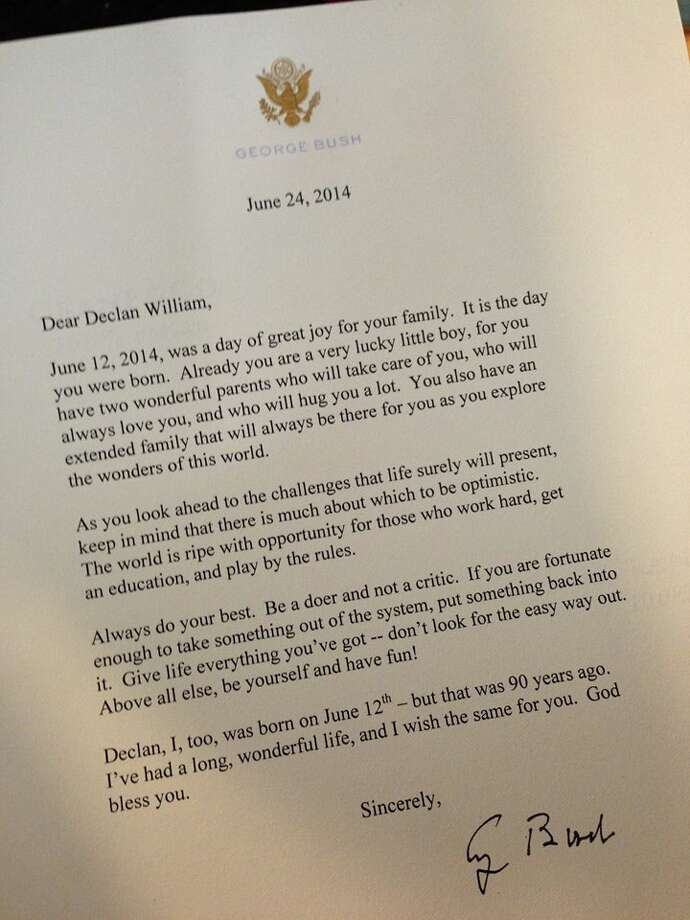 Former President George H. W. Bush sent a letter to a newborn Texan on the occasion of them sharing the same birthday.(Shane McAuliffe)