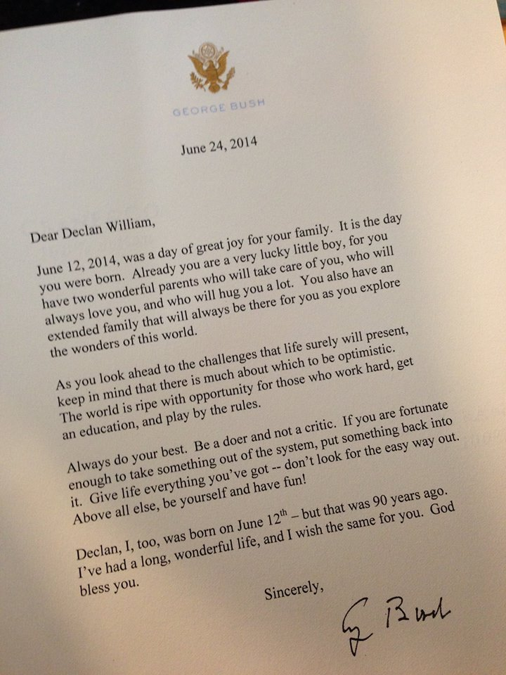 George HW Bush Sends Letter To Newborn On The Occasion