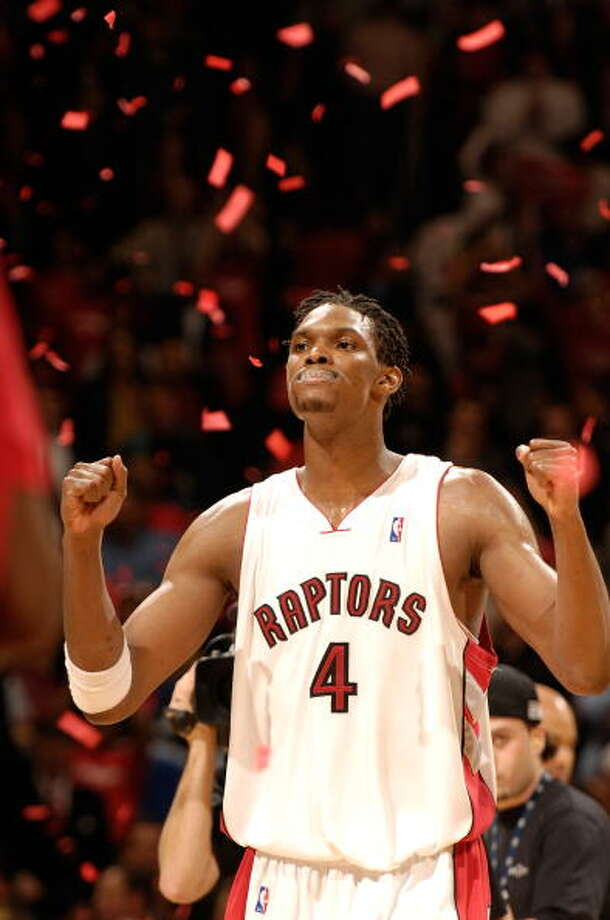 2006-07 season  Averaging a double-double (22.6 points, 10.7 rebounds) for the season, Bosh reached the playoffs for the first time. The Raptors were eliminated by the New Jersey Nets in the first round. Photo: Ron Turenne, NBAE/Getty Images / 2007 NBAE