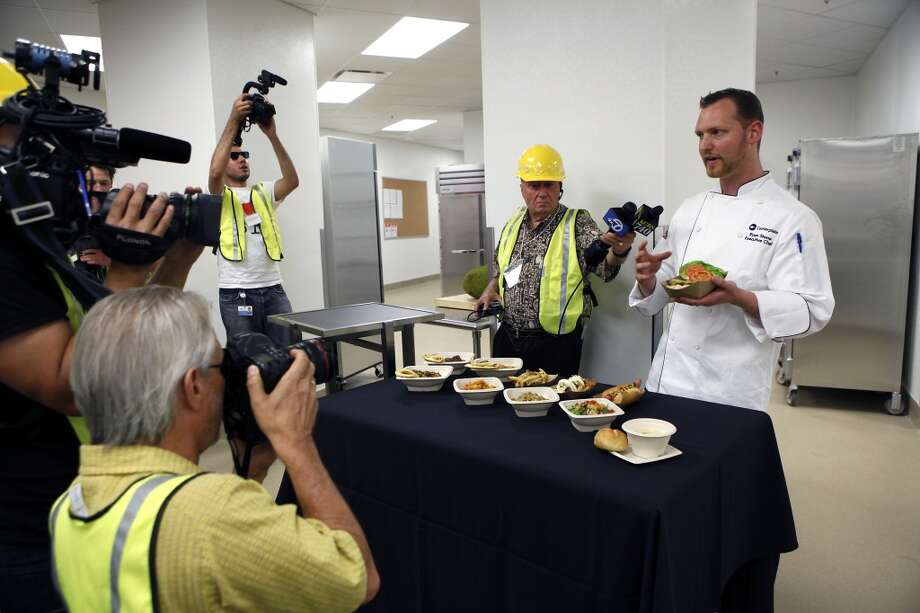 Executive chef Ryan Stone shows off food that will be available to fans visiting the 49ers' new Levi's Stadium in Santa Clara, CA, Wednesday, July 9, 2014. Photo: Michael Short, The Chronicle