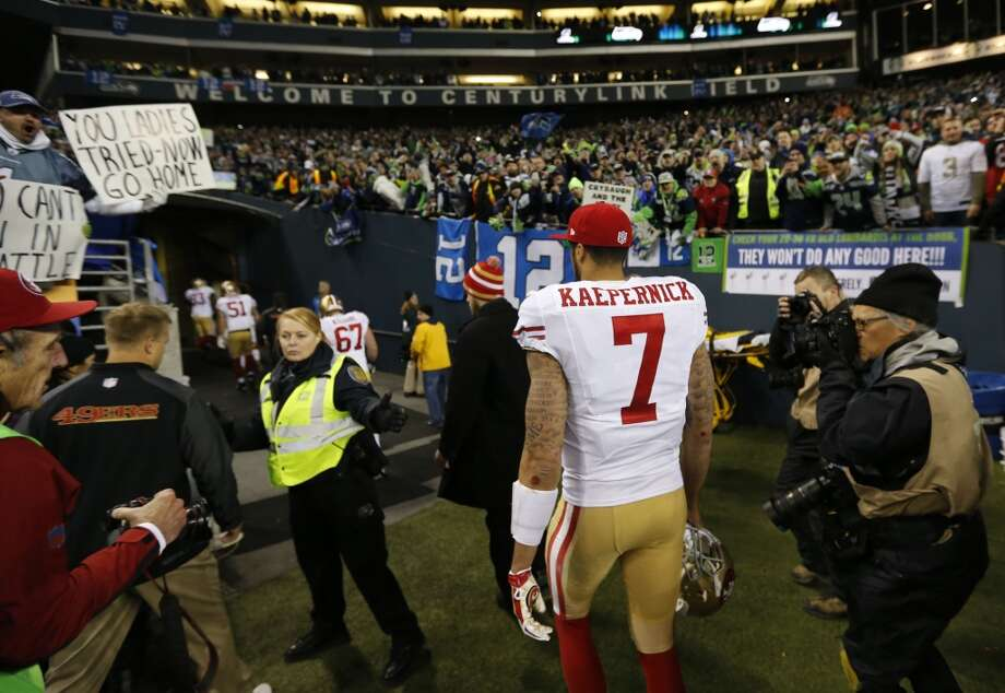49ers quarterback Colin Kaepernick, (7) heads for the locker room after their loss to the Seattle Seahawks 23-17 in the NFC Championship game at CenturyLink Field in Seattle, Washington on Sunday Jan. 19,  2014. Photo: Michael Macor, The Chronicle