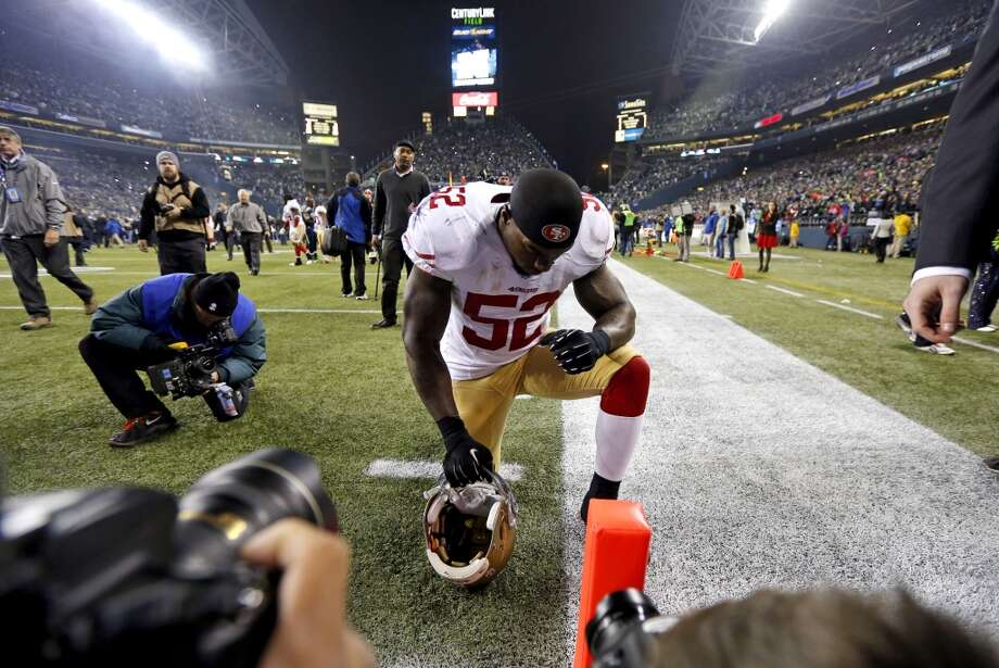 49ers Patrick Willis, (52) pauses on the goal line after the end of the game, as the  San Francisco 49ers lost to the Seattle Seahawks 23-17 in the NFC Championship game at CenturyLink Field in Seattle, Washington on Sunday Jan. 19,  2014. Photo: Michael Macor, The Chronicle