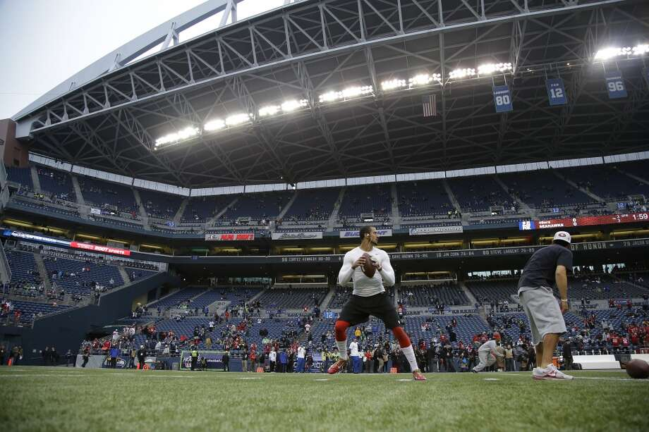 San Francisco 49ers quarterback Colin Kaepernick warms up before the NFL football NFC Championship game against the Seattle Seahawks Sunday, Jan. 19, 2014, in Seattle. Photo: Matt Slocum, Associated Press