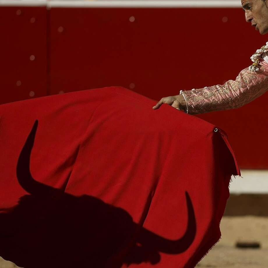 El toro's revenge:Spanish bullfighter Ivan Fandino waves a red flag at a bull in the ring at Pamplona. The   bull threw Fandino and gored him - not surprising as the beast had been stabbed repeatedly. Photo: Daniel Ochoa De Olza, Associated Press