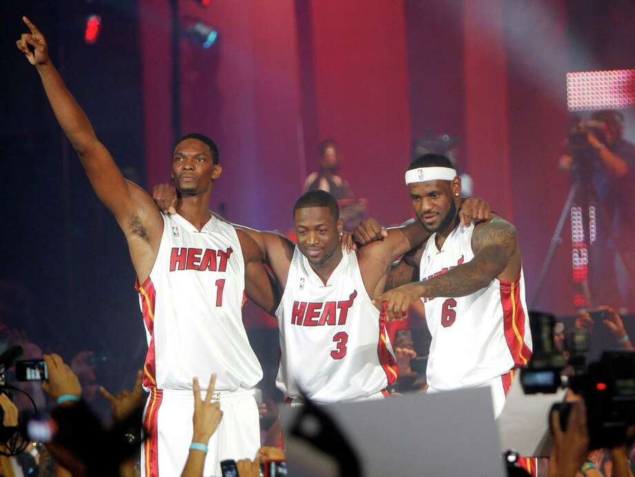 "2010: James makes his first ""Decision""Ohio native LeBron James broke hearts in Cleveland when he annouced he was leaving the Cavaliers and ""taking my talents to South Beach"" in a nationally televised TV special. In Miami, he teamed with Dwayne Wade and fellow free-agent signing Chris Bosh to make the Heat an instant contendor, appearing in the NBA Finals in all four seasons in Miami and winning championships in 2012 and 2013. What will he do next? Photo: J.Pat Carter, AP / AP"