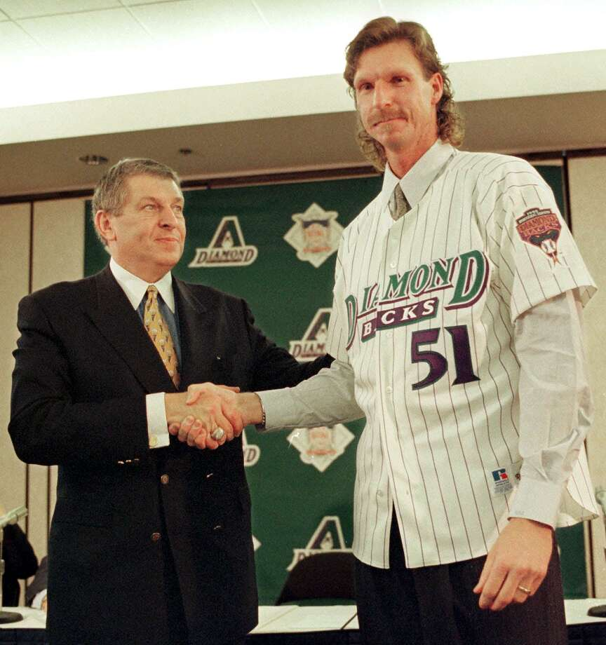 "1999: ""Big Unit"" makes huge contributionsAfter he developed into a superstar in Seattle, the Mariners traded Randy Johnson to Houston for the Astros' 1998 playoff run. Johnson signed with the Arizona Diamondbacks the following offseason, adding instant credibility to the second-year franchise. In two stints over eight seasons in the desert, Johnson racked up 2,077 strikeouts and helped lead the D-Backs to the 2001 World Series title. Photo: MIKE FIALA, AFP/Getty Images / AFP"