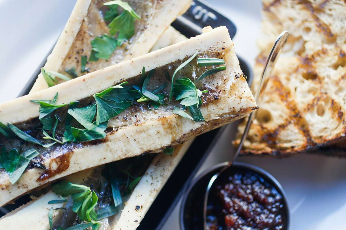 The Country Bread dish with marrow bones and bacon marmalade at Monsieur Benjamin in S.F.