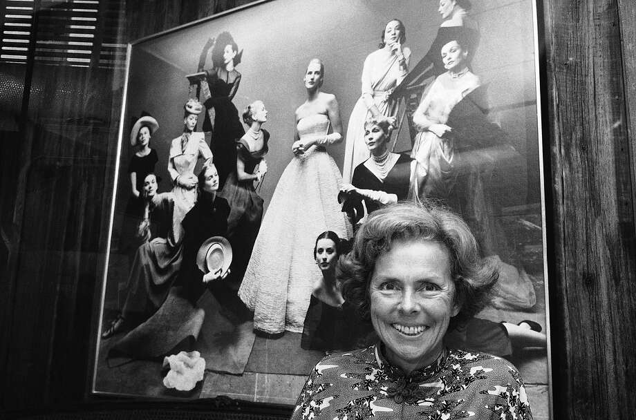 Eileen Ford poses with a montage of famous models, including some who became superstars in entertainment and whose careers she directed. Photo: Marty Lederhandler, Associated Press