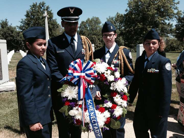 Junior ROTC members from Schenectady who helped to lay the wreath on the memorial are, from left, Am