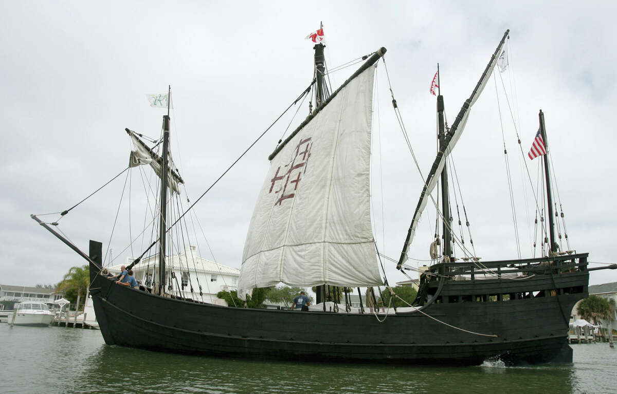 In this Thursday, Feb. 22, 2007 file photo, a replica Columbus's ship the Nina arrives in Little Bay in Rockport, Texas. Spain's consulate is floating a proposal to restore a replica of Christopher Columbus' ship the Nina. The wooden vessel, originally part of the replica fleet along with the Pinta and Santa Maria, docked in Corpus Christi in 1993. The other two were badly damaged in a barge crash the following year.