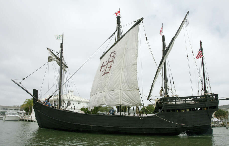 In this Thursday, Feb. 22, 2007  file photo, a replica  Columbus's  ship the Nina arrives in Little Bay in Rockport, Texas. Spain's consulate is floating a proposal to restore a replica of Christopher Columbus' ship the Nina. The wooden vessel, originally part of the replica fleet along with the Pinta and Santa Maria, docked in Corpus Christi in 1993. The other two were badly damaged in a barge crash the following year. Photo: Rachel Denny Clow, AP Photo/Corpus Christie Caller-Times, Rachel Denny Clow / 2007 AP