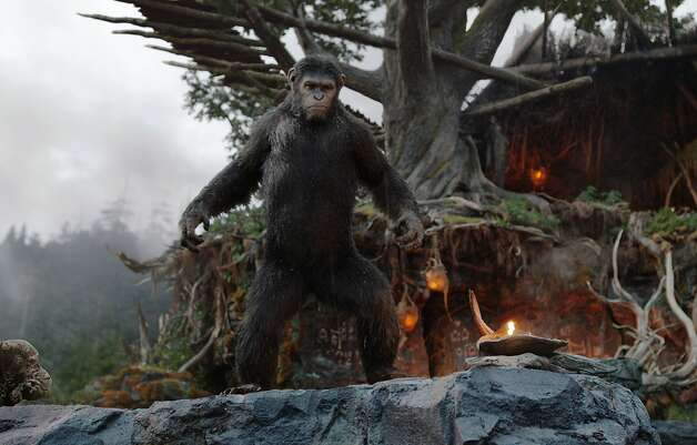 """This image released by 20th Century Fox shows Caesar, performed by Andy Serkis, in a scene from """"Dawn of the Planet of the Apes."""" Photo: David James, Associated Press"""
