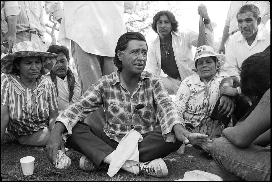 This Central Valley image of labor leader Cesar Chavez with fellow farmworkers was discovered in a box of negatives. Photo: Mimi Plumb