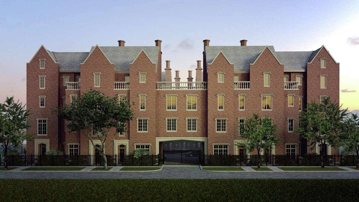 A rendering of Courtlandt Manor, to be built at 411 Lovett in a design inspired by the 17th-century Wroxton Abbey in Oxfordshire.
