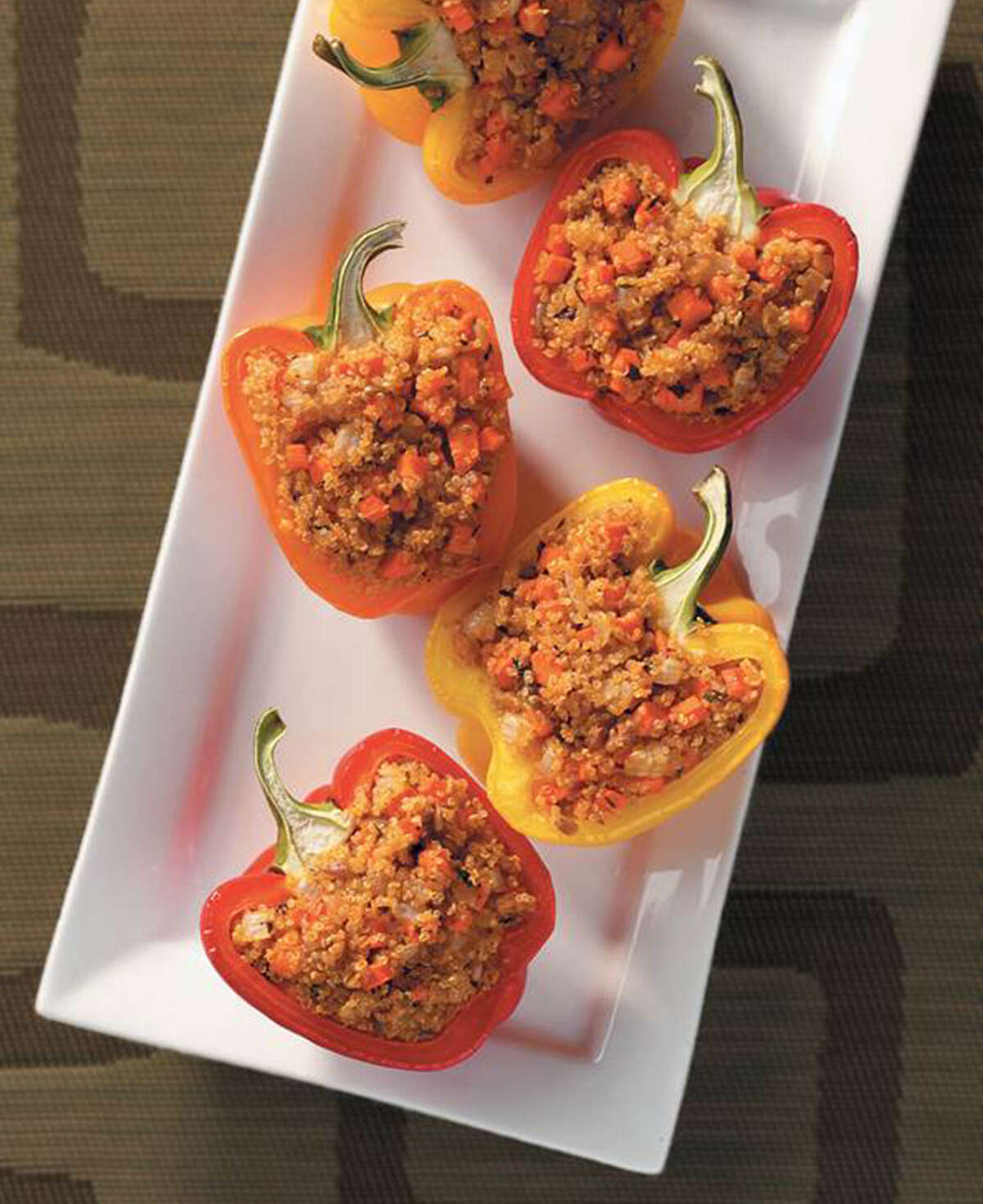 Quinoa can replace hamburger meat in stuffed peppers.