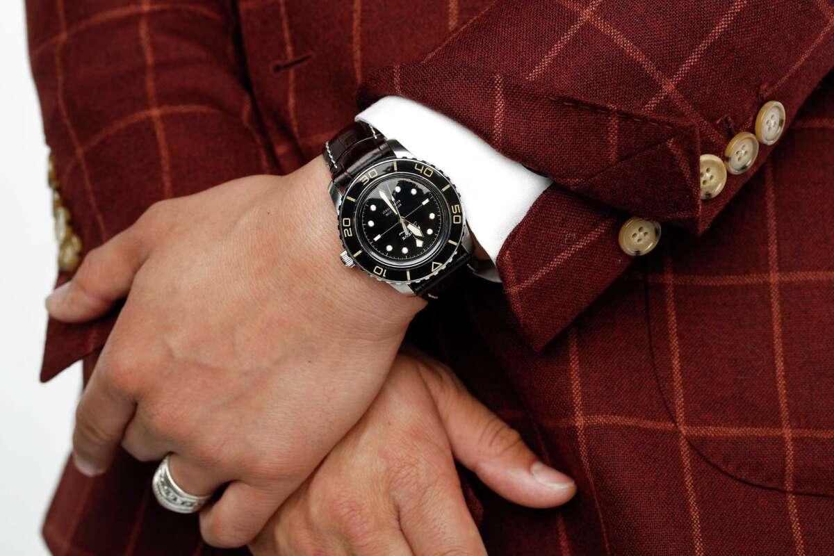 Alan Maramag is seen wearing Beckett and Robb jacket and a custom-built Seiko watch.