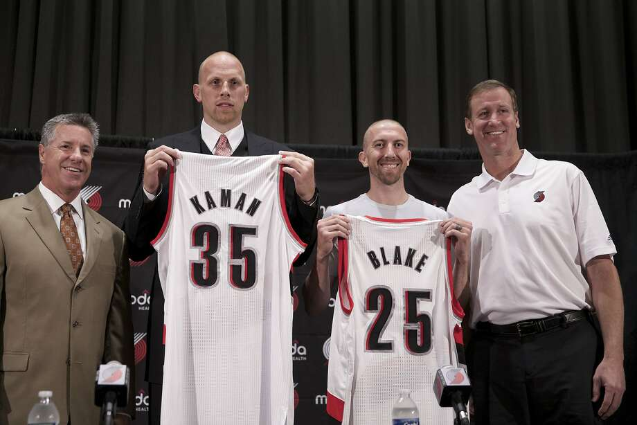 The Portland Trail Blazers introduce former Warriors guard Steve Blake. Photo: Bruce Ely, Associated Press