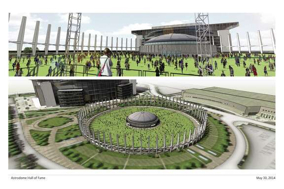 The Houston Livestock Show and Rodeo and the Texans suggest knocking down the Astrodome but preserving its heritage with columns and green space.
