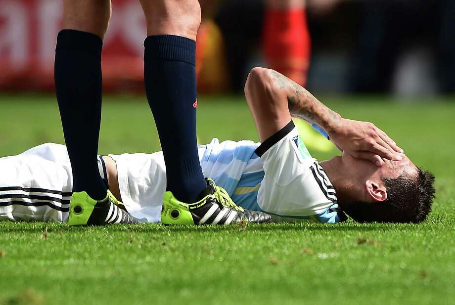 Argentina midfielder Angel Di Maria is questionable for the final against Germany on Sunday with a thigh injury, but he has been working in hopes of playing. Photo: FRANCOIS XAVIER MARIT, Staff / AFP