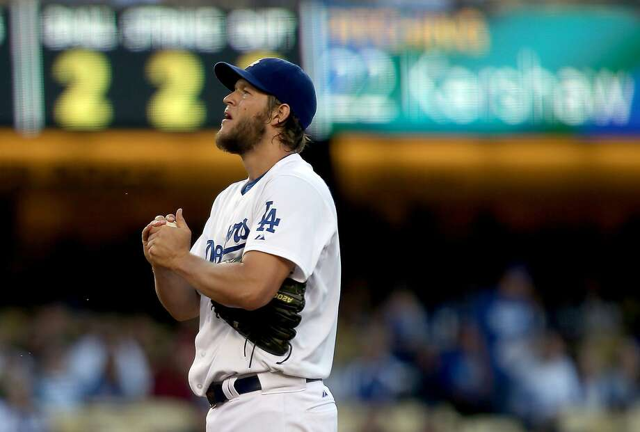 Dodgers pitcher Clayton Kershaw saw his shutout streak end at 41 innings, but with a three-hitter, he beat the Padres 2-1. Photo: Luis Sinco, McClatchy-Tribune News Service
