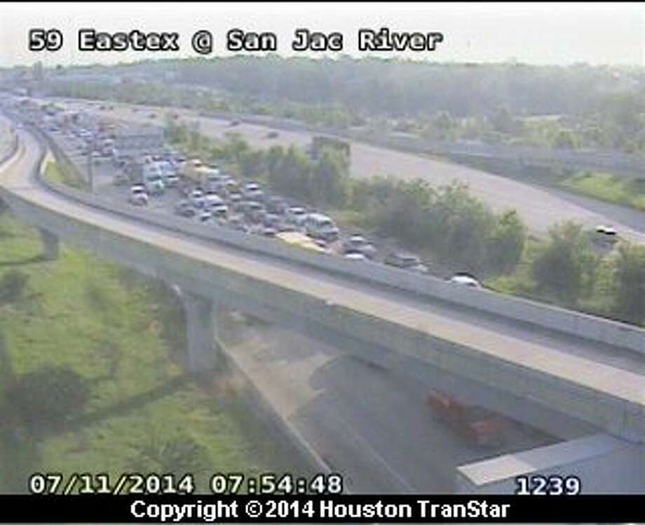 Inbound Esstex jammed after police crash in Humble Photo: Houston TranStar