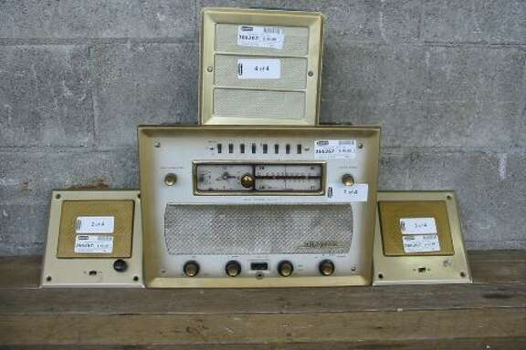 """ Vintage Talk-A-Radio Radio Intercom System  ... Awesome vintage-looking main unit, and includes two mic/speakers, and a single speaker. Selling untested, as is, so it's probably best for parts, but it very well could work!"" Price: $45."